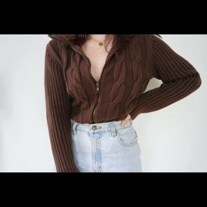 Sweaters - Vintage Cocoa Cable Knit Cardigan